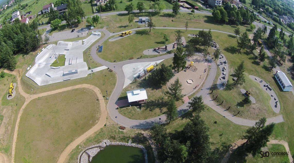 View of the skate park in Olkusz