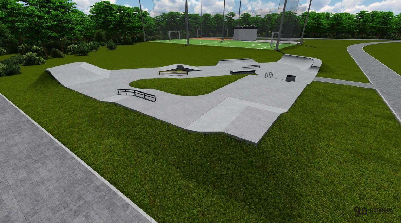 Wizualizacja beteonowego skateparku w Kalwari Zebrzydowskiej